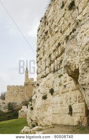Defensive Wall Of The Ancient Holy Jerusalem .
