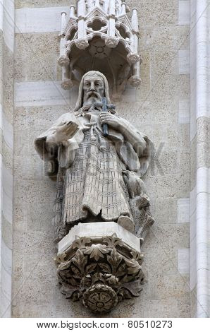 ZAGREB, CROATIA - SEPT 26: statue of Saint Paul the Hermit on the portal of the cathedral dedicated to the Assumption of Mary and to kings Saint Stephen and Saint Ladislaus in Zagreb on Sept 26, 2013.