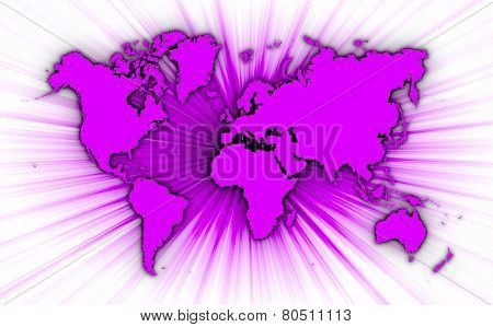 Map Of World With Starburst On Background