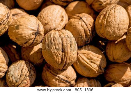 many walnuts close-up, solve problems icon, abundance, hardness