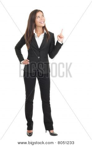 Businesswoman Pointing On White Background