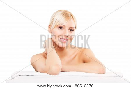 Beautiful Woman Lying Down. Spa Girl. Beauty Salon.