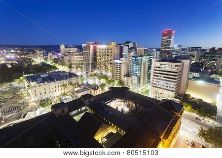 View of downtown Adelaide at night