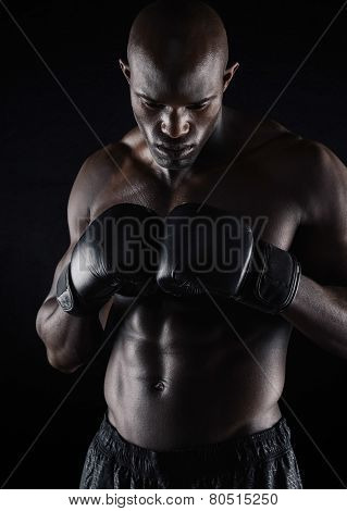 Professional Boxer Preparing For Fight