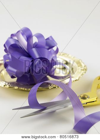 cutting purple ribbon -open ceremony concept