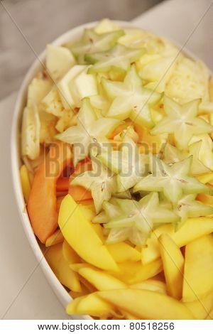 Star Fruit, Mango, Honeydew Melon Sliced