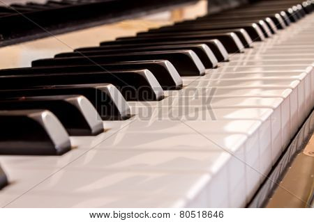 Closeup Of A Piano Keyboard