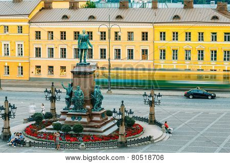 Statue Of Emperor Alexander II Of Russia On Senate Square In Hel