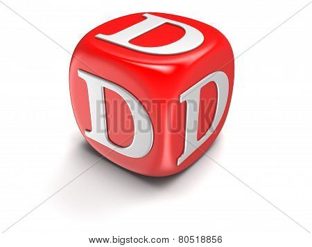 Dices with letter D (clipping path included)