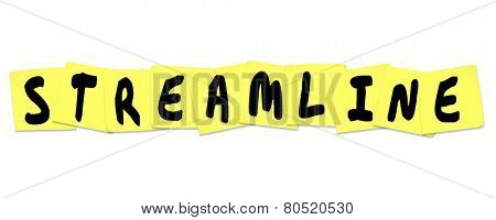 Streamline word with letters written on sticky notes to illustrate productivity or efficiency improvements or increases in an office or workplace