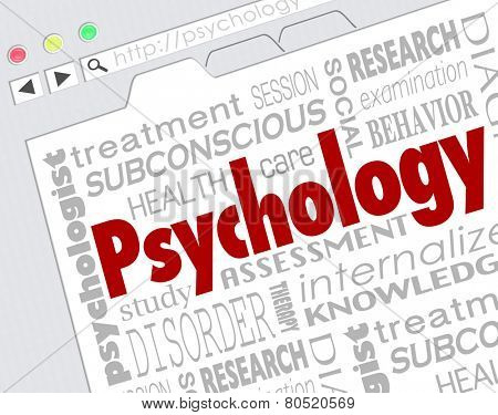 Psychology word on a website screen to illustrate online research for diagnosis or treatment of mental health condition, disease or disorder