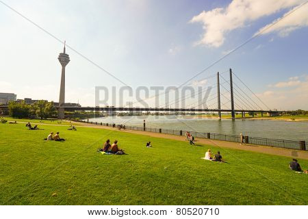 DUSSELDORF, GERMANY - SEP 16: Rhine river on September 16, 2014. Dusseldorf is the capital city of the German state of North Rhine-Westphalia and centre of the Rhine-Ruhr metropolitan region.