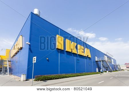Warsaw, Poland - August 03, 2014: Building of the IKEA store in Warsaw. IKEA was founded in Sweden and is the world's largest furniture retailer.