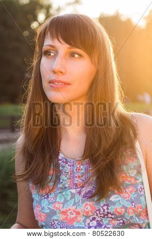 Pretty Young Woman Glance Away At Summer Day.