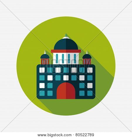 Building Palace Flat Icon With Long Shadow,