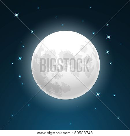 Full moon and stars
