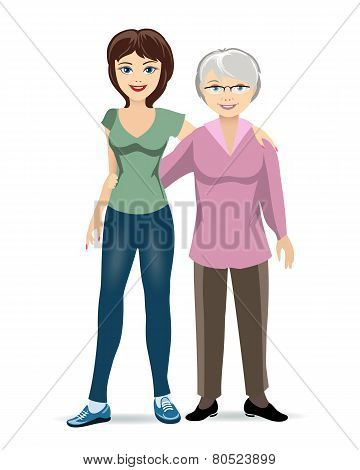 Elderly woman with adult daughter