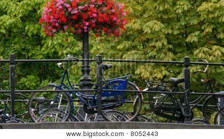 Blue bike on a bridge