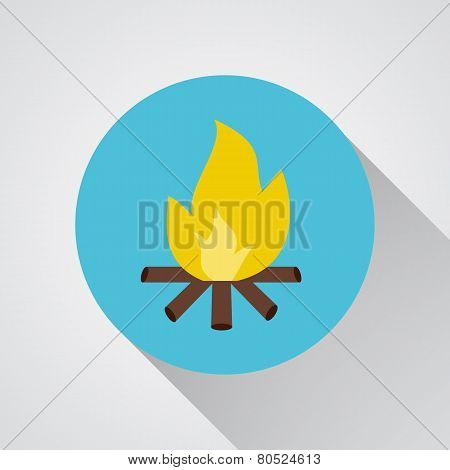 Bonfire - Vector Icon With Shadow On A Round Blue Button