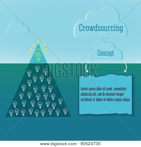 Crowdsourcing Concept. Simple Infographics. And Snow Winter Clouds. Abstract Triangle Iceberg With N