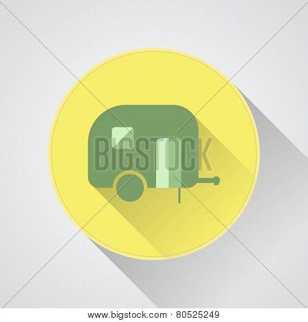 Camping trailer vector icon. Caravan.