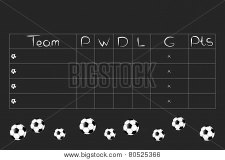 Football Tournament Group Stages and Points Table vector design. Black and white