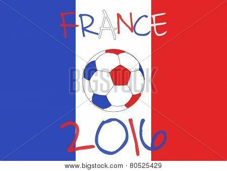 France 2016 Football poster. France flag background, typographic design.