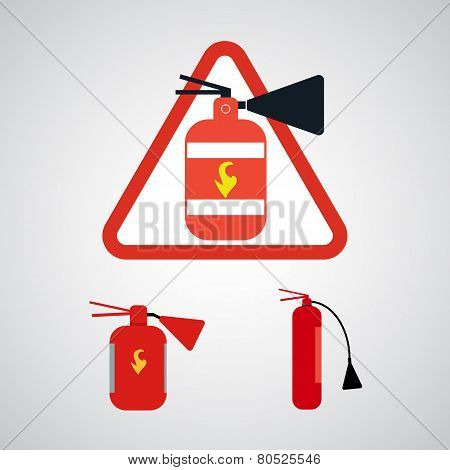 Set of Fire extinguishers.
