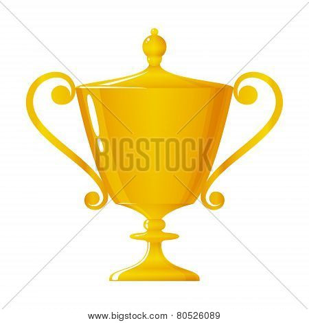 Cup Of Winner, Gold Trophy Cup, Vector Illustration