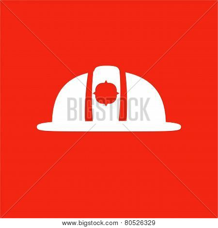 Firefighter Helmet Icon. Isolated On Red Background.
