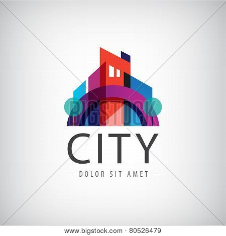 vector abstract colorful city, building composition sign