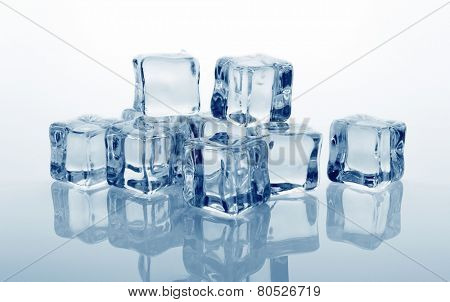 Ice cubes with reflection, close-up