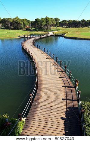 Bridge over an artificial pond.