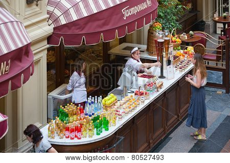 Sellers Of Fruits, Juices And Soft Drinks And Buyer