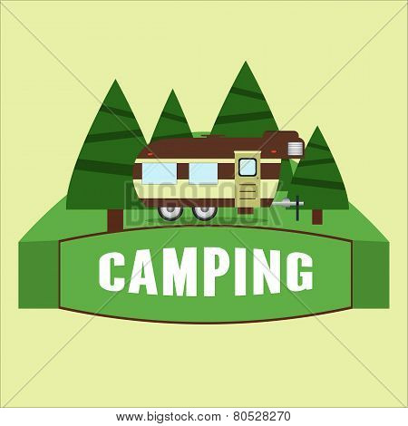 Rv Camping Illustration. Vector