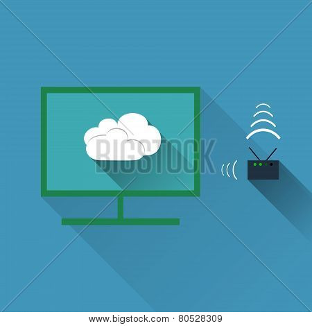 Vector Concept Of Wireless Cloud Network