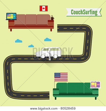 Couch Surfing Concept. Share Your Couch. Funny Paper Car.