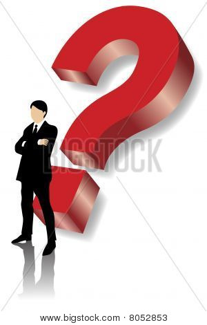Business man standing in front of big red question mark