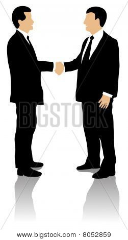 Two business men greeting