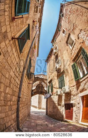 Fish-eye lens look of the old city on sky background. Kotor. Montenegro
