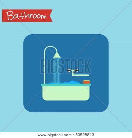 Bathroom Interior Icon. Sponge And Foam In The Bath. Vector.