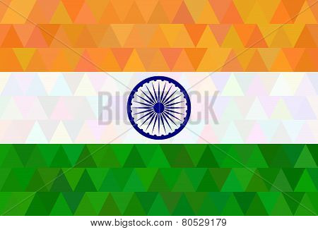 Indian Flag In Geometric Style.