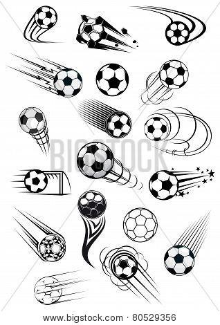 Football or soccer ball symbols in black and white colors