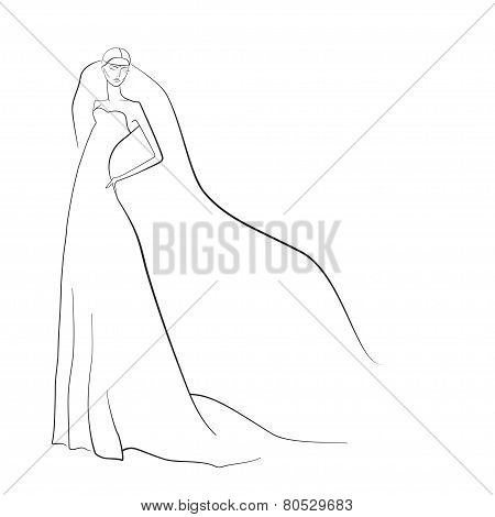 Wedding Background - Elegant Bride In White Dress