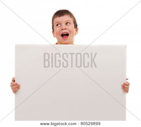 boy with blank paper sheet isolated
