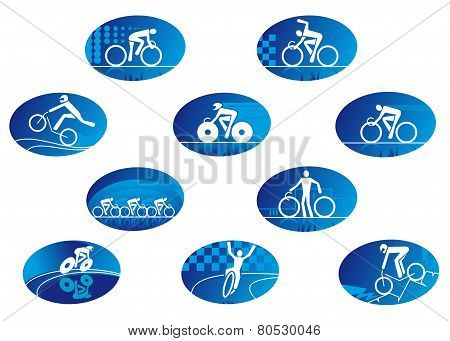 Blue bicycle sport icons with reflection