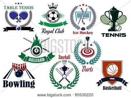 Competitive team sports heraldic emblems and logo