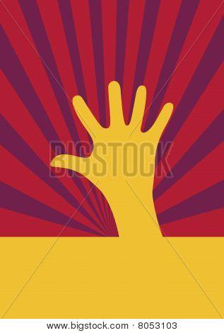 Yellow hand stretching upward