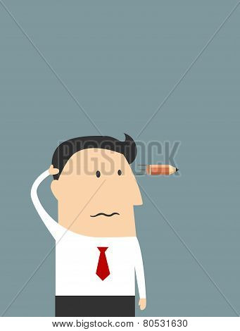 Tired cartoon businessman showing suicide gesture