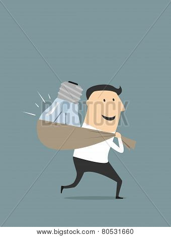 Happy cartoon businessman with stolen idea